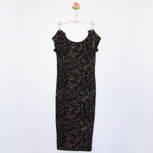 H&M Bodycon Black Spot-print Dress, S